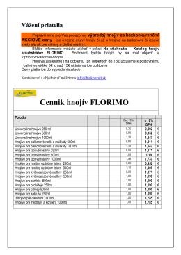 Cennik hnojiv Florimo
