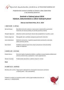 Seminár o ľudovej piesni 2014 Výskum, dokumentácia a edície