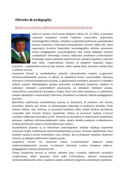 Hospitačná činnosť na Dubnickom technologickom