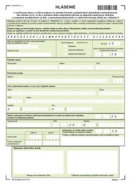 Hlásenie o vyúčtovaní dane za rok 2012