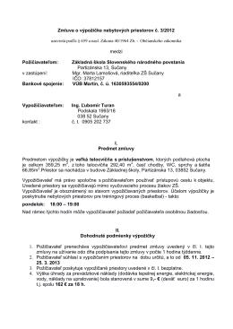 Zmluva o výpožičke nebytových priestorov č. 3/2012 medzi