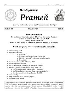 Bardejovský Prameň 1/2014