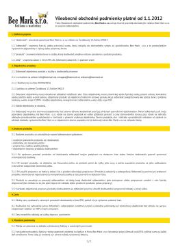 Všeobecné obchodné podmienky platné od 1.1.2012