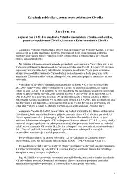 Zapisnica z VZ Úrbariat Závadka zo 06.09.2014