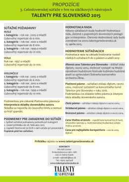 PROPOZÍCIE TALENTY PRE SLOVENSKO 2015