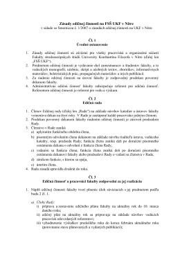 Zásady edičnej činnosti na FSŠ UKF v Nitre