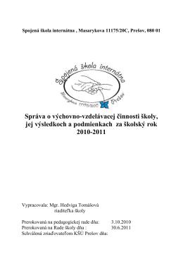 Správa - Spojená škola internátna, Prešov