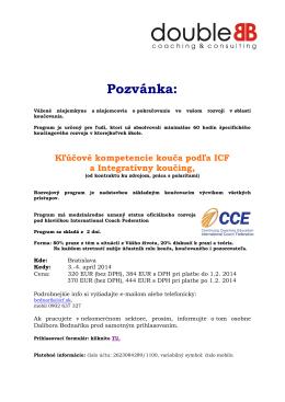 Koučing: Kľúčové kompetencie podľa ICF I