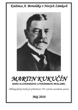 Martin Kukučín - Knižnica Antona Bernoláka