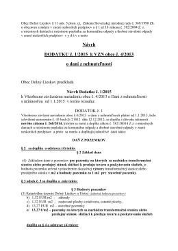Návrh DODATKU č. 1/2015 k VZN obce č. 4/2013 o