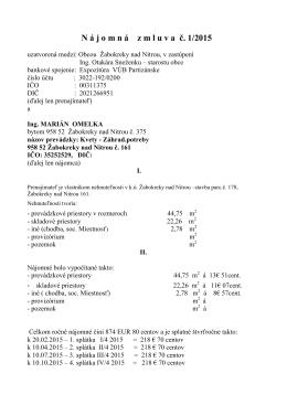 N á j o m n á z m l u v a  č. 1/2015