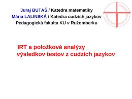 IRT a položkové analýzy výsledkov testov z cudzích jazykov | Butaš