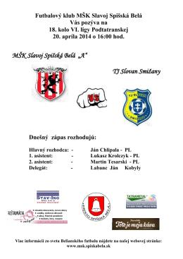 Bulletin MŠK Slavoj Spišská Belá č.6