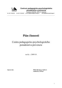 Plán činnosti CPPPaP na šk. rok 2009/2010