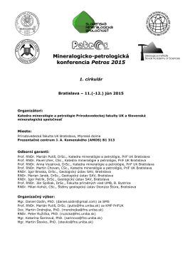 Mineralogicko-petrologická konferencia Petros 2015