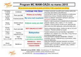 program na marec 2015 - Materské centrum Mami