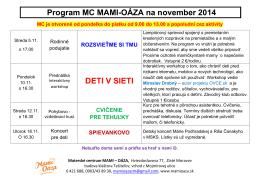 Program MC MAMI-OÁZA na november 2014 DETI V SIETI