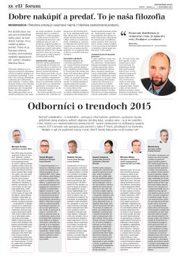 Odborníci o trendoch 2015