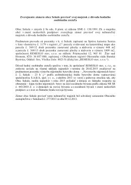 Zverejnenie zámeru obce Sekule previesť svoj majetok z dôvodu