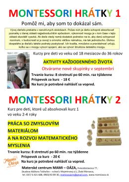 Montessori hrátky 1 - Materské centrum Mami
