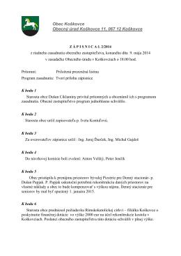 Obec Koškovce Obecný úrad Koškovce 11, 067 12 Koškovce