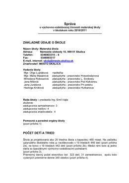 Záverečná správa o činnosti MŠ Skalica v šk. r. 2010/2011