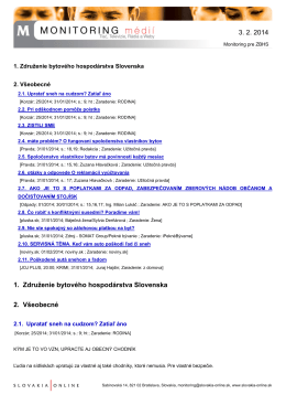 Monitoring médií pre ZBHS (3. 2. 2014)