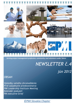 NEWSLETTER č.4 - PMI Slovakia Chapter