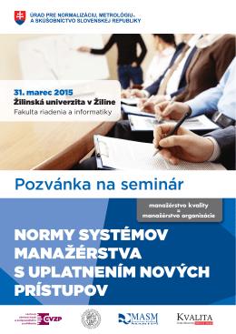 normy systémov manažérstva s uplatnením nových prístupov