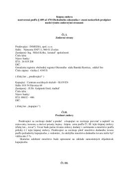 Kúpna zmluva uzatvorená podľa § 409 až 470 Obchodného