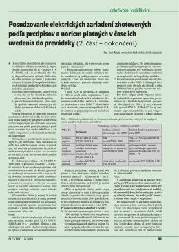 Posudzovanie elektrických zariadení zhotovených podľa predpisov