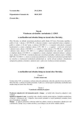 Návrh VZN 1/2015 o zneškodňovaní obsahu žúmp