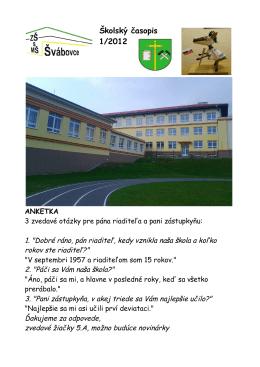 Školský časopis 1/2012 ANKETKA