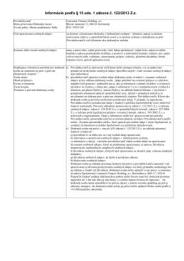 Informácie podľa § 15 ods. 1 zákona č. 122/2013 Z.z.