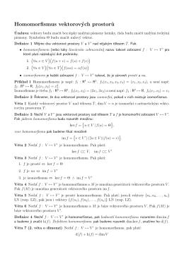 Homomorfismus vektorových prostor˚u