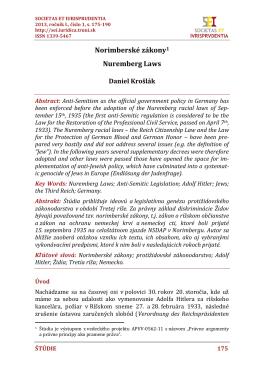 Norimberské zákony - SOCIETAS ET IURISPRUDENTIA