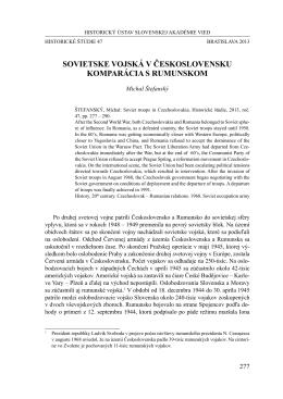 SOVIETSKE VOJSKÁ V ČESKOSLOVENSKU KOmpARáCIA S RumunSKOm