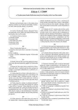 Zákon č. 1/2009 o Všeobecnom fonde Reformovanej