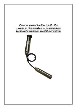 Ponorný snímač hladiny typ MAM 6 – verzia so