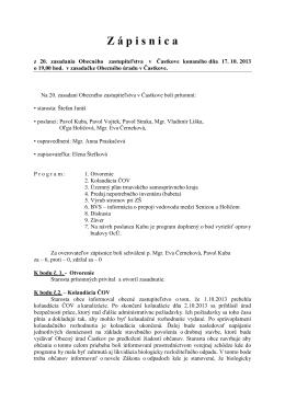 Zápisnica z 20. zasadnutia OZ