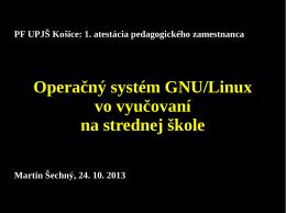 Operačný systém GNU/Linux vo vyučovaní na