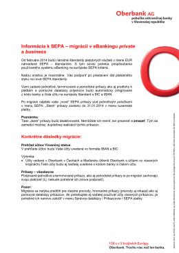 Informácia k SEPA – migrácii v eBankingu private a