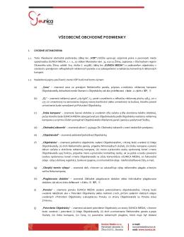 Všeobecné obchodné podmienky spoločnosti EUNICA MEDIA, s.r.o.