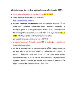 Vloženie práce do systému evidencie záverečných prác (EZP):