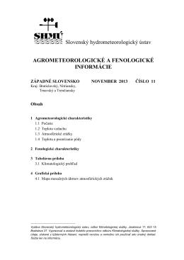 agrometeorologické a fenologické informácie