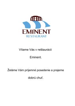 Jedálny lístok - Hotel Eminent