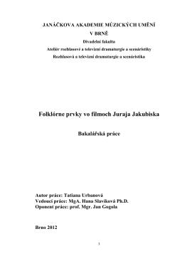 Folklórne prvky vo filmoch Juraja Jakubiska - IS JAMU