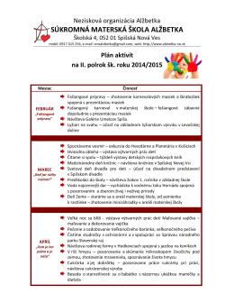 Plán aktivít na II. polrok školského roka 2014/2015