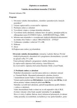 zápisnica z Valného zhromaždenia zo dňa 27.02.2011