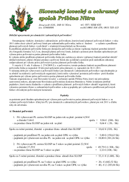 Popis a sumy poplatkov spojených s vybavovaním